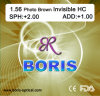 1.56 Photochromic Brown Invisible Hc Optical Lens