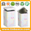 Tall Square Metal Airtight Tin Canister for Sugar Coffee Tea