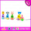 Pull Back Wooden Toy Four Animals Assorted, Wooden Pull Toys Interactive Cartoon Animal Pet Toy W05b112