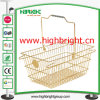 Gloden Metal Wire Shopping Hand Basket with Metal Brand Mark