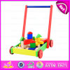 2015 Pull and Push Wooden Toy Cart for Kids, Children Pull-Along Wooden Toy Block Cart, Wooden Baby Toy Cart with Blocks W16e019