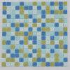 Glossy Shining Surface Bright Blue Iridensent Radom Design Glass Mosaic