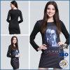 Black Short Sleeve Fashion Printing Round Collar Dress