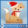 Christmas Wooden Fox with Santa Hat for Home Decorations
