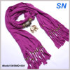Fashion Fringed Gold Elephant Lady Pendant Scarf (SNSMQ1028)