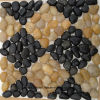 Black and Yellow Mosaic Pebble Stone Tile Polished