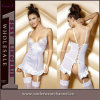 China White Fashion Sheer Corset with Garter Bustier (8133-1)