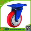 Heavy Load Capacity Red PU Cast Iron Wheel Caster Without Brake