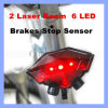 Bright Cycling Bike Taillight Bicycle 2 Laser Beam 6 LED Brakes Stop Sensor LED Rear Tail Safety Light Wireless Induction Warning Tail Light