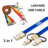 Blue Lanyard USB Cable with 3 Adapters for Mobile Phone Charging