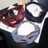 Bohemian Style Elastic Headbands Boho Cross Floral Turban Girls Flower Hairbands Striped Headwrap Hair Accessories for Women