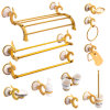 Gorgeous Series Gold Plated Bathroom Accessories Set in Brass and Zinc Alloy