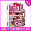 New Design Girls Pretend Toys Wooden Huge Dollhouse W06A229