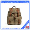 Women′s Canvas Backpack with Drawstring Closure-Olive
