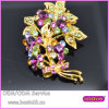 Fashion Gold Jewelry Purple Stones Flower Leaf Brooch 5294