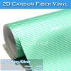 Air Bubble Free Green/Silver Glossy 2D Carbon Fiber Film Car Folie