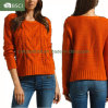 Lady's Knit Apparel High Twist Cotton Pullover Jacquard Knit Sweater (SW-13003)