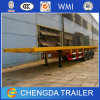 Tri Axles 40 Ft Flatbed Semi Trailer for Container Transport