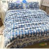 Cute Cartoon Printing Coral Fleece Fitted Bed Skirt 4PCS Set
