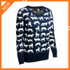 Navy Blue Animal Pattern Round Neck Long Sleeve Fashion Clothes