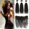 Kinky Curly Brazilian Lace Frontal Closure with Bundles, 1PCS Lace Frontal 13.5X4 with 3PCS Human Hair Bundles