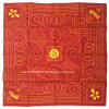 China Factory OEM Produce Customized Design Printed Red Orange Cotton Headwear Bandanna