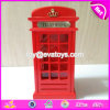 New Design Red Telephone Booth Shape Wooden Large Piggy Coin Bank W02A265