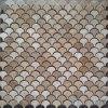 Polished Small Fish Scale Caffee Travertine Mosaic