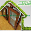 Oak Wood Aluminum Tilt and Turn Window, Inward Opening Wood Aluminum Window Multi-Point Locking System for Home Security