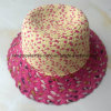 100% Paper Straw Hat, Fashion Mixed Col Style with Flower Decoration