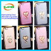 Electroplating Transparent Case with Loving-Heart Ring Holder for iPhone 7/6s/6