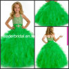 Green Tulle Junior Prom Party Dress Stage Performance Gown Beading Thin Straps Crystal Rhinestones Flower Girl Dress Tiered Wedding Ball Gown F131213