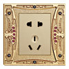 2 Powerpoint Diamond Gold Plated Finish Brass Wall Socket