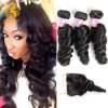 Brazilian Virgin Hair with Closure Hair Bundles with Lace Closure Brazilian Loose Wave Hair Weft with Closure