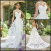 Beach Bridal Gowns Round-Neck Custom Lace Wedding Dresses M5705