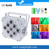 9PCS LED Battery Powered-Wirelessrgbwa UV LED Flat PAR Can High Power Light