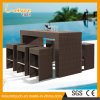 Durable New Promotional Tall Stool Rattan Bar Chair and Table Set Garden Outdoor Bistro Furniture