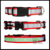 High Visible Red Nylon Dog Collar with Stitched Reflective Stipe