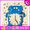 New Design Cartoon Preschool Kids Wooden Teaching Clock W14k015