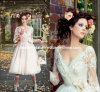 3/4 Sleeves Knee Length A-Line V-Neck Flower Sash Lace Wedding Dress H147231