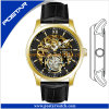 Black Genuine Leather Band Skeleton Dial Automatic Watch