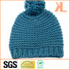 100% Winter Warm Acrylic Knitted Blue Hat with Pompom