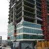 Decorative glass facade for exterior wall