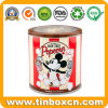 Round Metal Tin Can with Clear Transparent Window for Popcorn