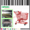 Red Large Supermarket Shopping Trolley Cart Plastic Coating