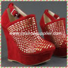Big Size Studded Lady High Heel Wedge Women Shoes