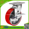 Heavy Duty Red PU Caster Wheel with Brake