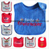 Factory Produce Customized Design Embroidered Cotton Terry Baby Bibs