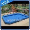 0.6mm PVC Tarpaulin Big Inflatable Pool, Blue Square Shape Inflatable Pool for Rent