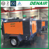 Portable Air Compressors Lubricated Rotary Screw Type Mounted on Trolley